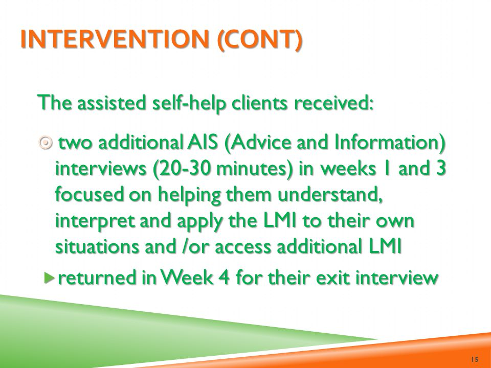 Intervention (cont) The assisted self-help clients received: