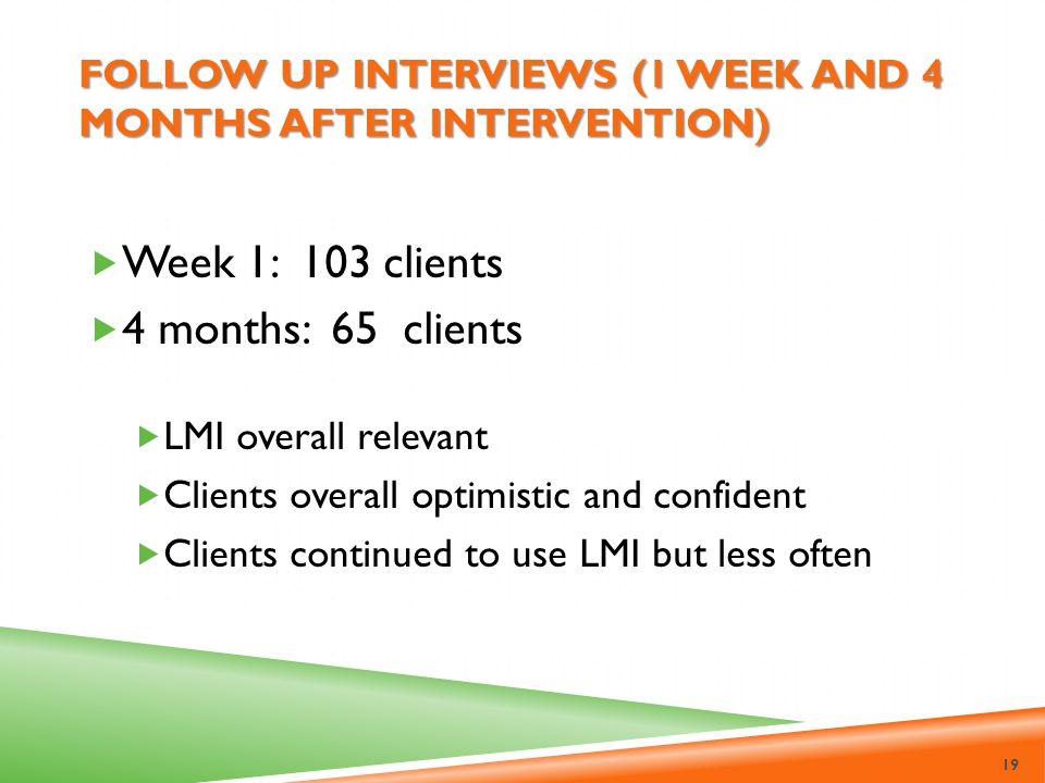 Follow up interviews (1 week and 4 months after intervention)