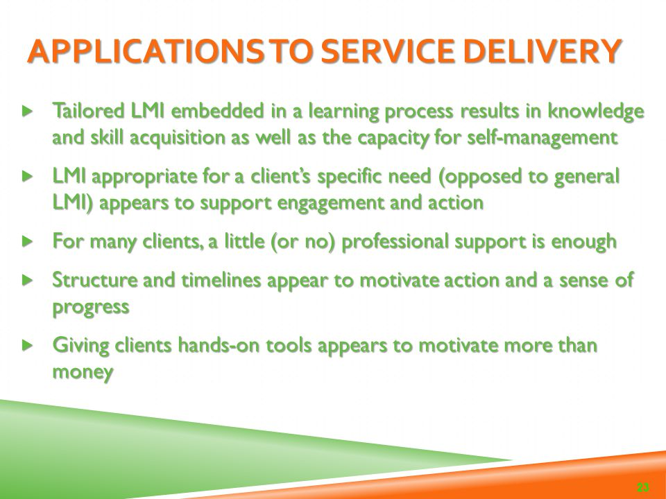 Applications to Service Delivery
