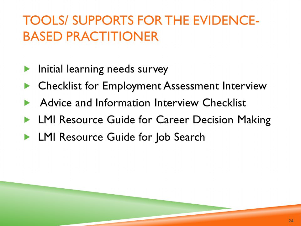 Tools/ Supports for the evidence-based practitioner