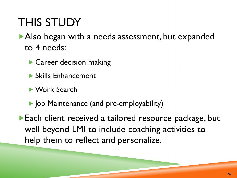 This Study Also began with a needs assessment, but expanded to 4 needs: Career decision making. Skills Enhancement.
