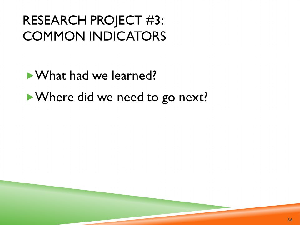 Research Project #3: Common Indicators