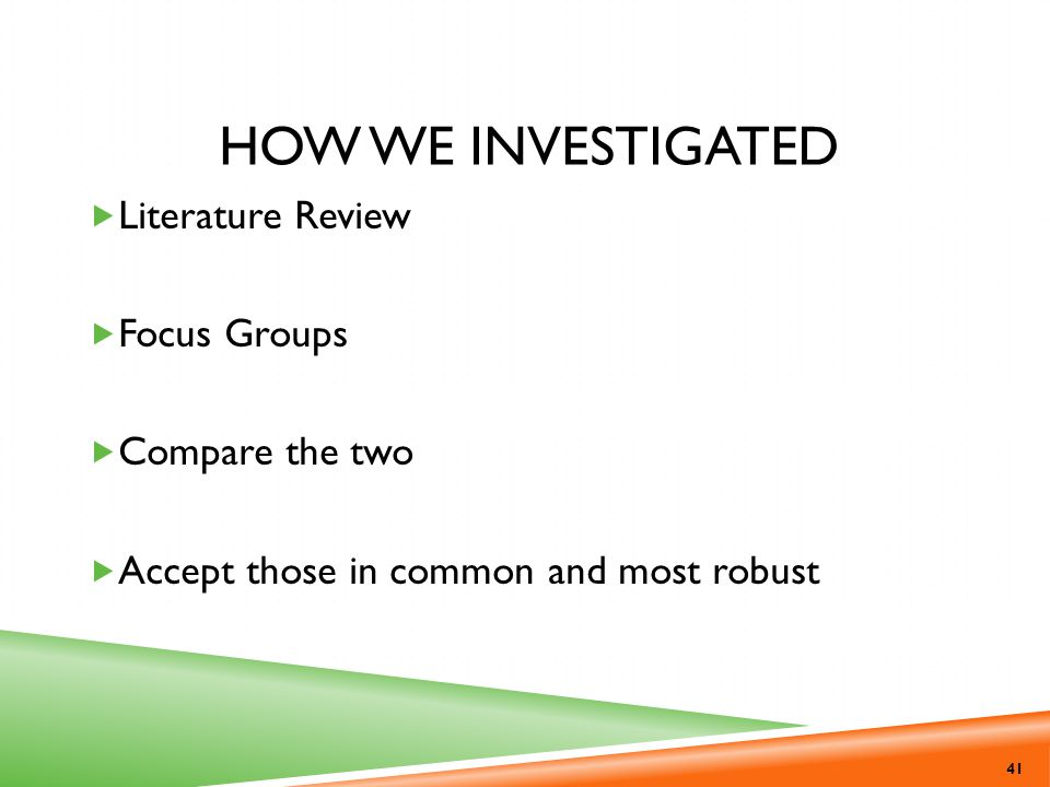 How we investigated Literature Review Focus Groups Compare the two