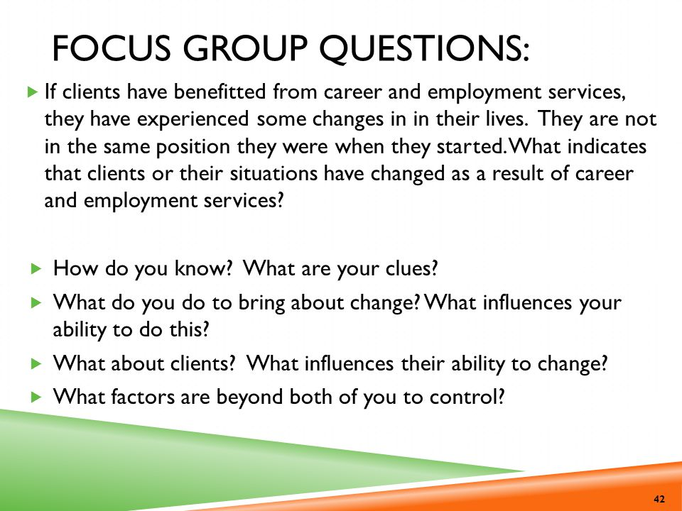 Focus Group Questions: