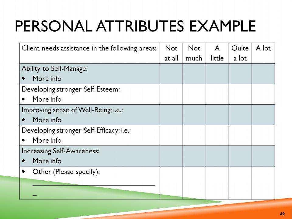 Personal Attributes Example