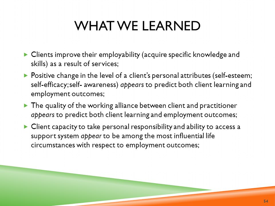 What we learned Clients improve their employability (acquire specific knowledge and skills) as a result of services;