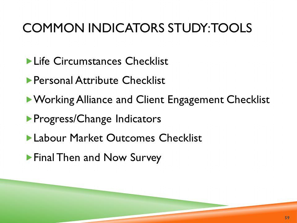 Common Indicators Study: Tools