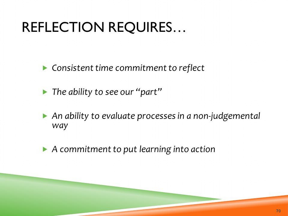 Reflection requires… Consistent time commitment to reflect