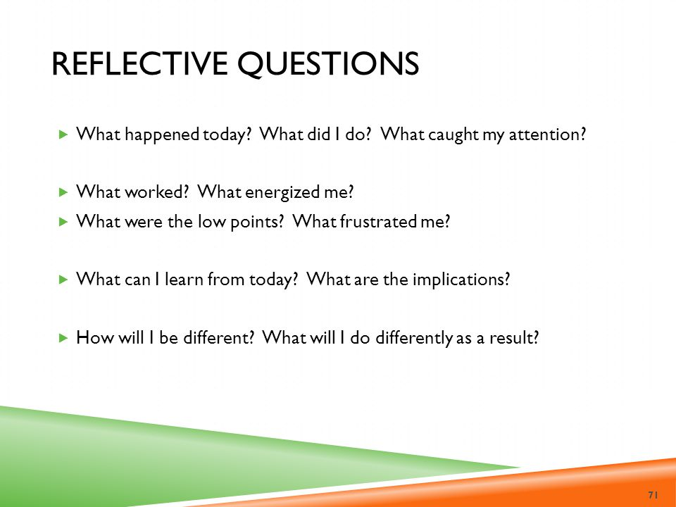 Reflective questions What happened today What did I do What caught my attention What worked What energized me