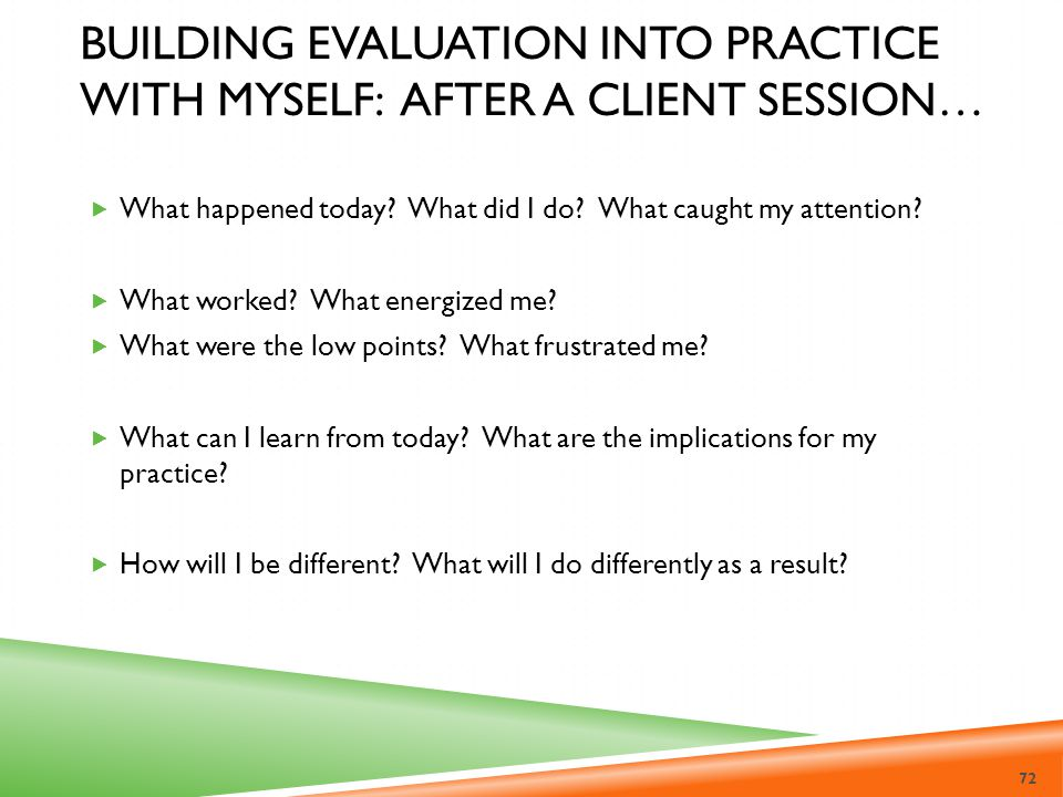 Building Evaluation into Practice with Myself: After a client session…
