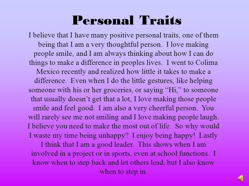 Personal Traits
