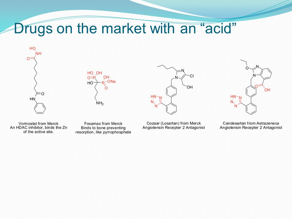Drugs on the market with an acid