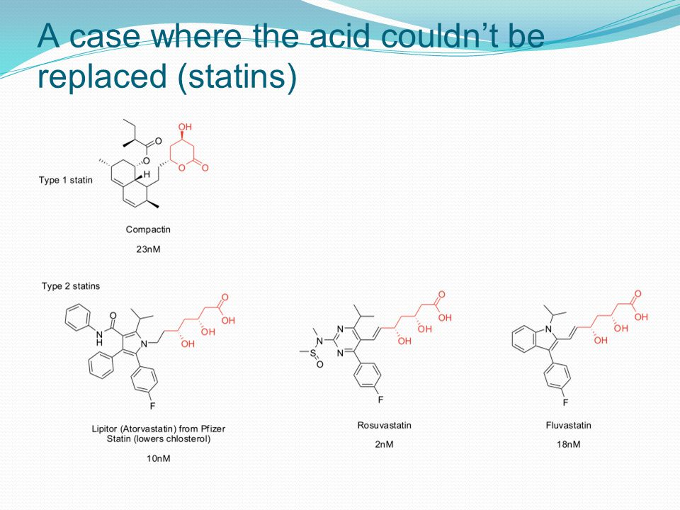 A case where the acid couldn't be replaced (statins)