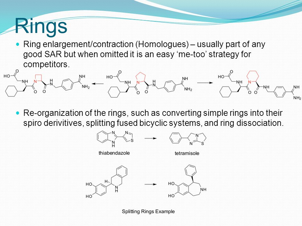 Rings Ring enlargement/contraction (Homologues) – usually part of any good SAR but when omitted it is an easy 'me-too' strategy for competitors.