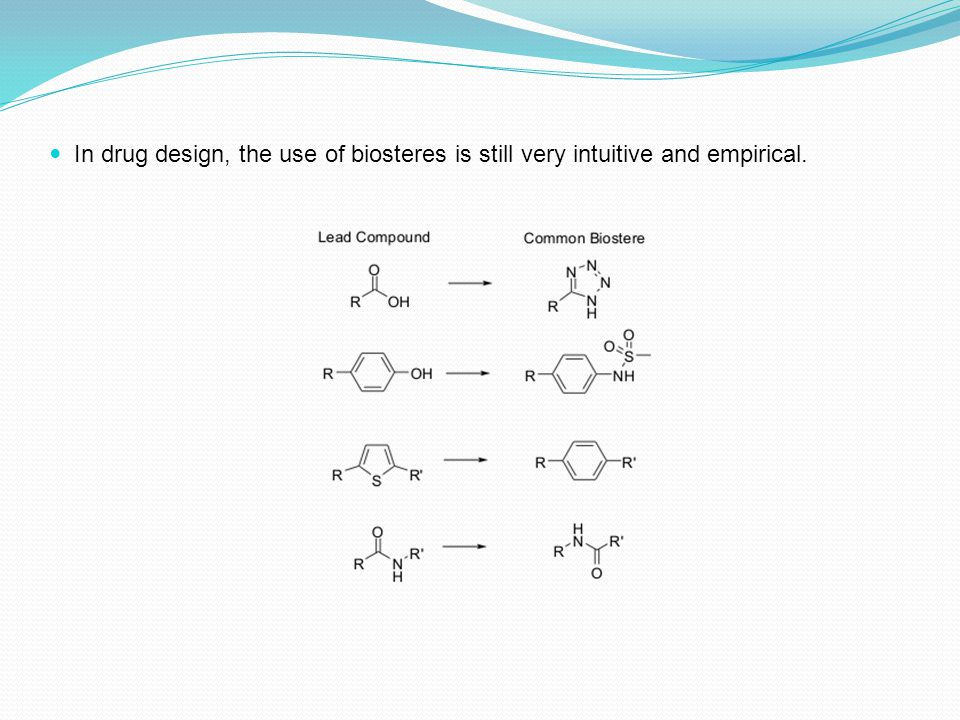 In drug design, the use of biosteres is still very intuitive and empirical.