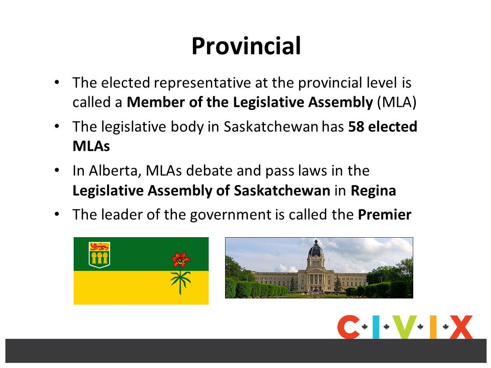 Provincial The elected representative at the provincial level is called a Member of the Legislative Assembly (MLA)