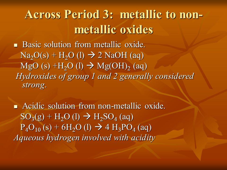 Across Period 3: metallic to non-metallic oxides