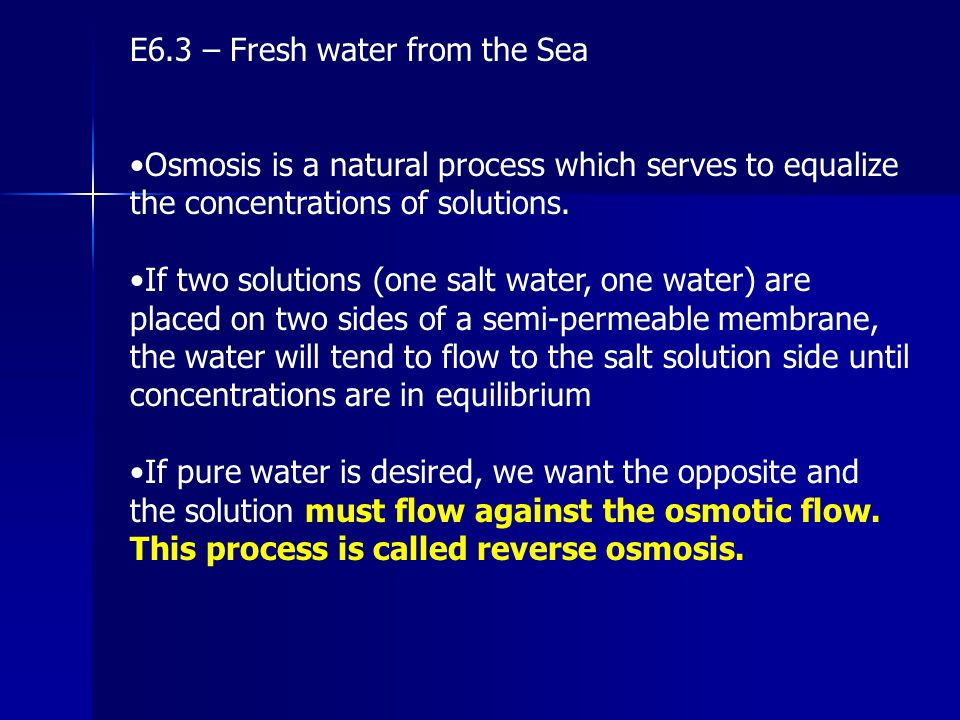E6.3 – Fresh water from the Sea