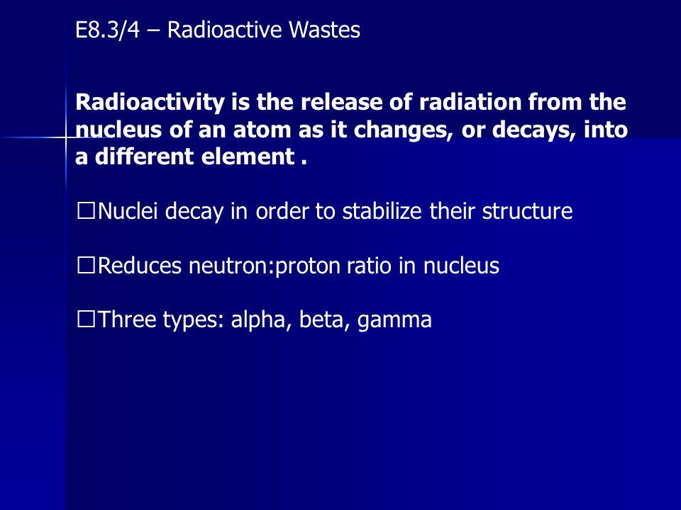 E8.3/4 – Radioactive Wastes