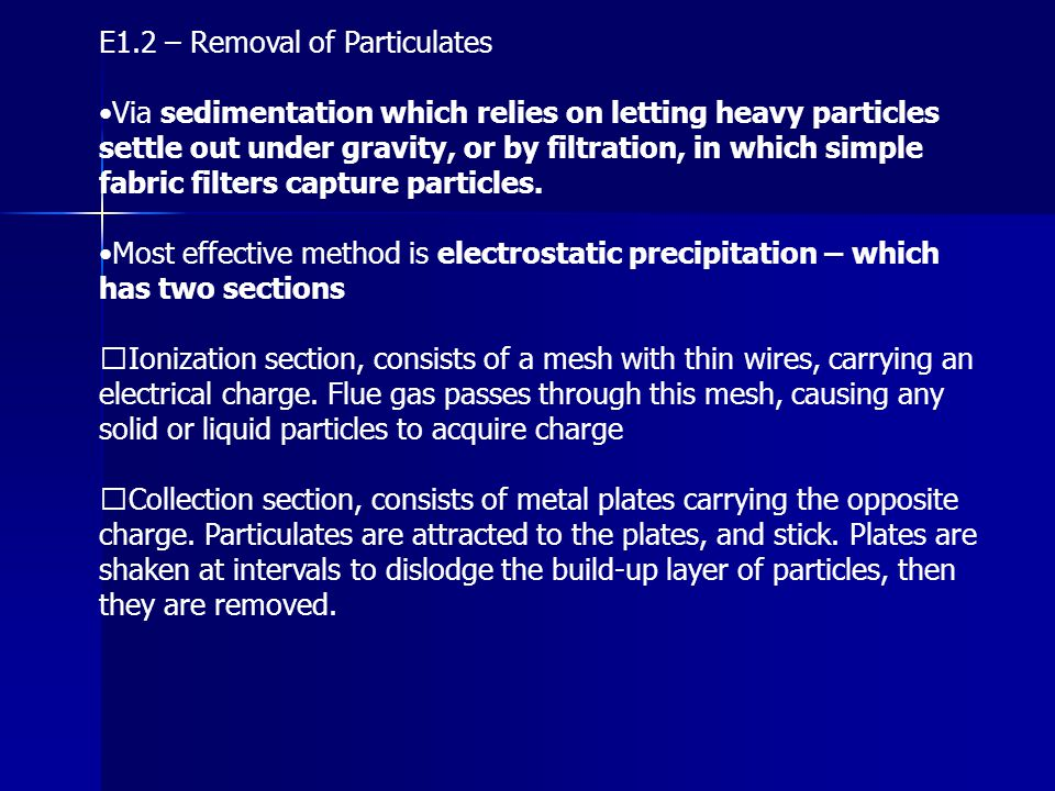 E1.2 – Removal of Particulates