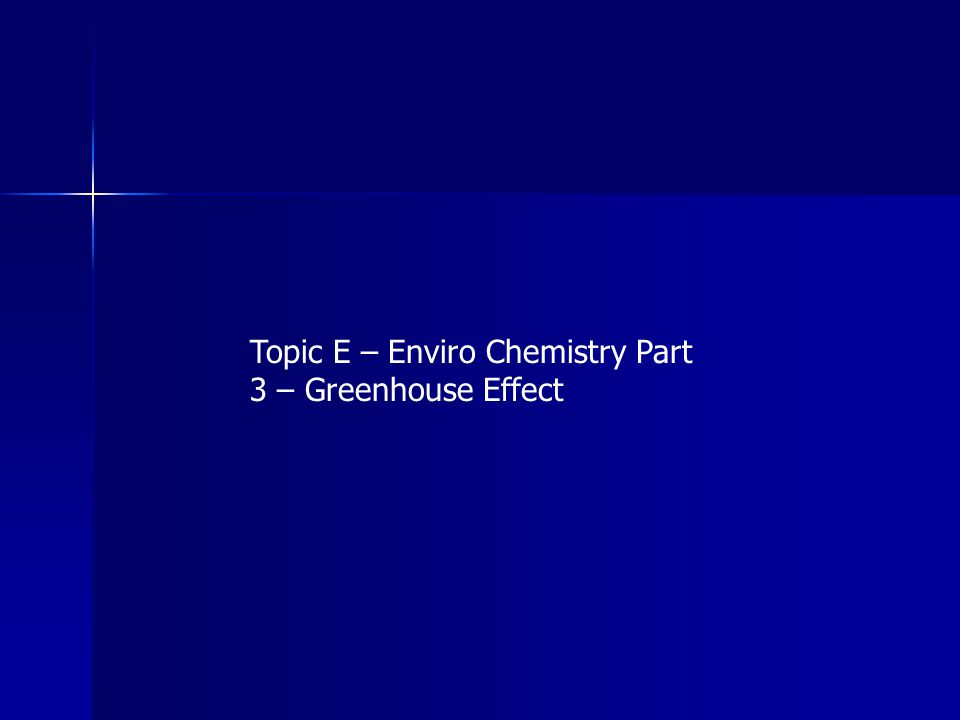 Topic E – Enviro Chemistry Part 3 – Greenhouse Effect