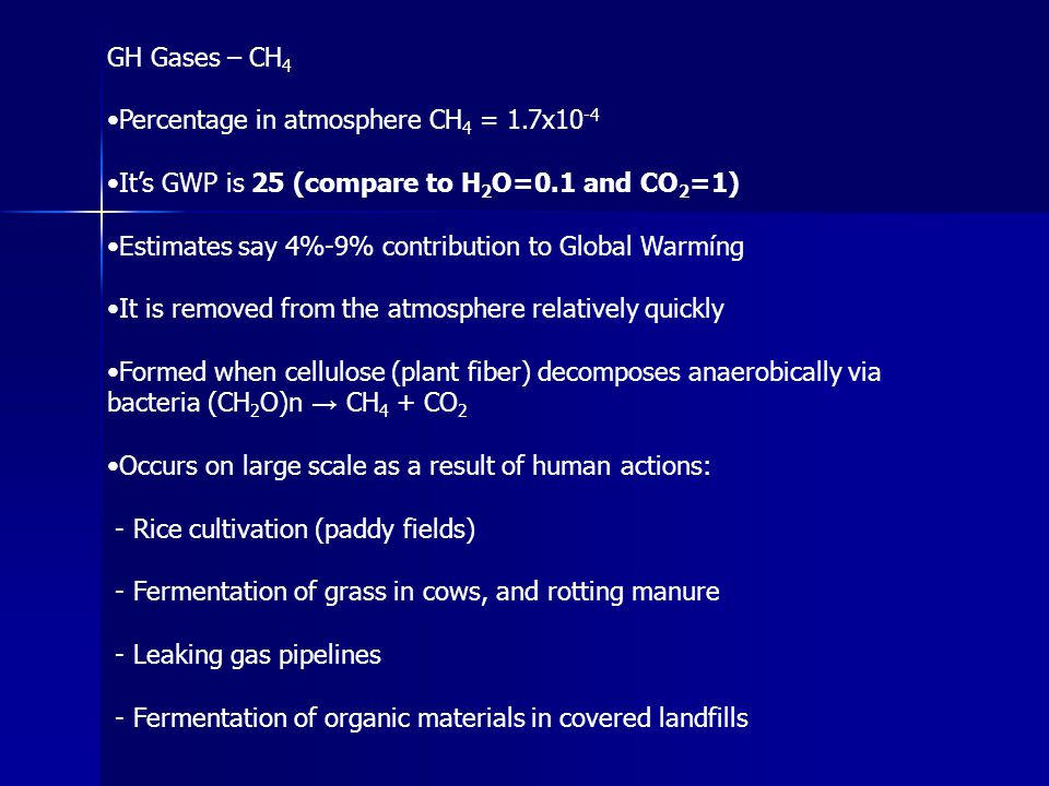 GH Gases – CH4 •Percentage in atmosphere CH4 = 1.7x10-4. •It's GWP is 25 (compare to H2O=0.1 and CO2=1)