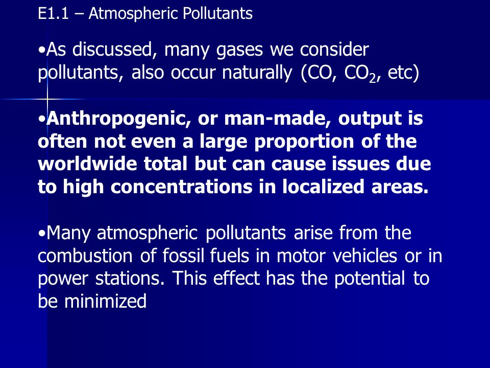 E1.1 – Atmospheric Pollutants