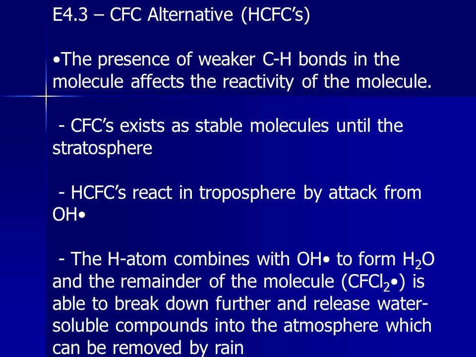 E4.3 – CFC Alternative (HCFC's)