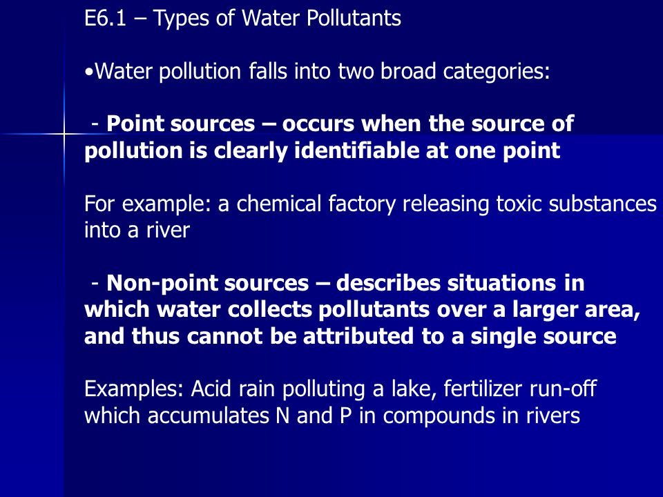 E6.1 – Types of Water Pollutants