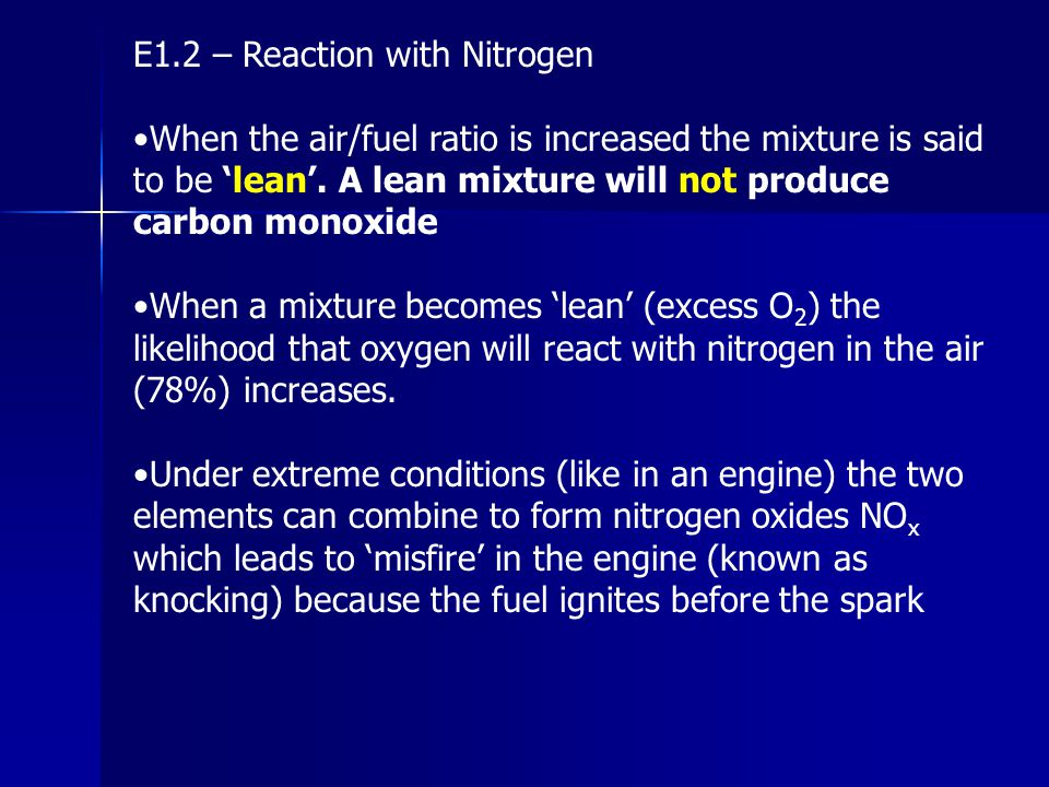 E1.2 – Reaction with Nitrogen