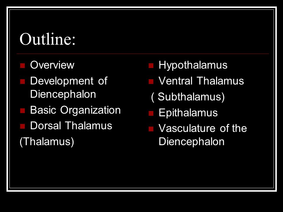 Outline: Overview Development of Diencephalon Basic Organization