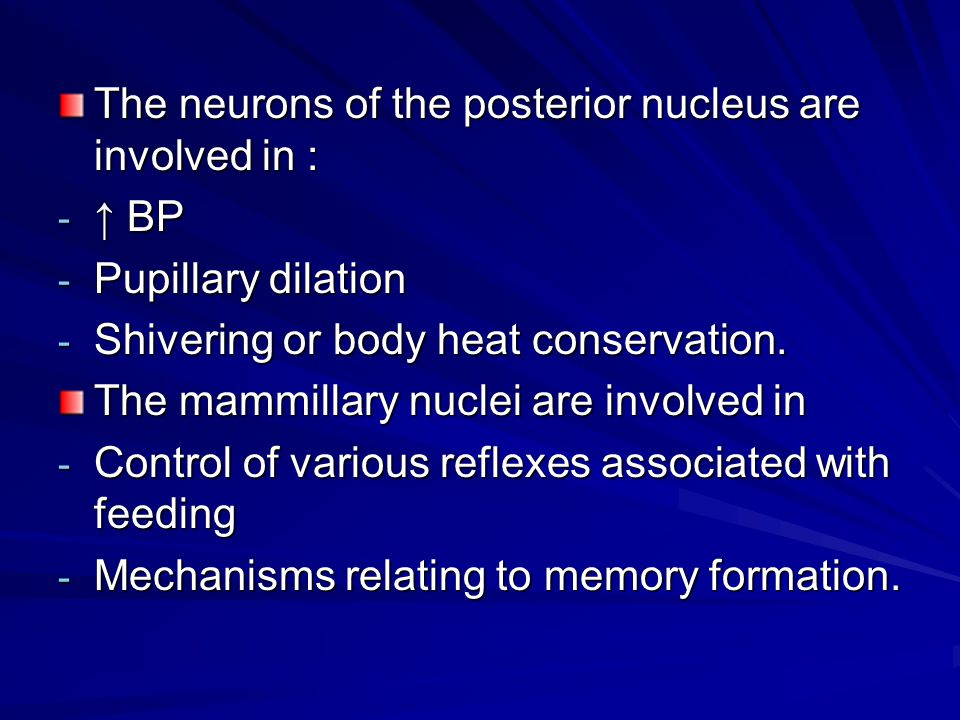 The neurons of the posterior nucleus are involved in :
