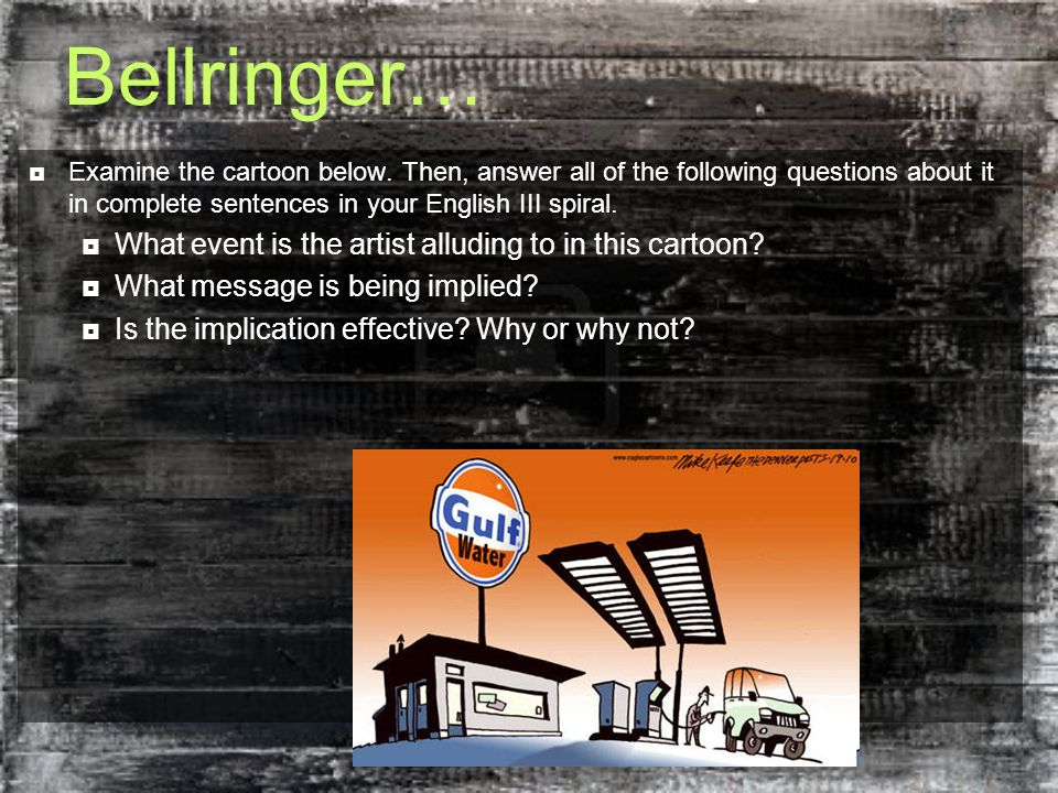 Bellringer… What event is the artist alluding to in this cartoon