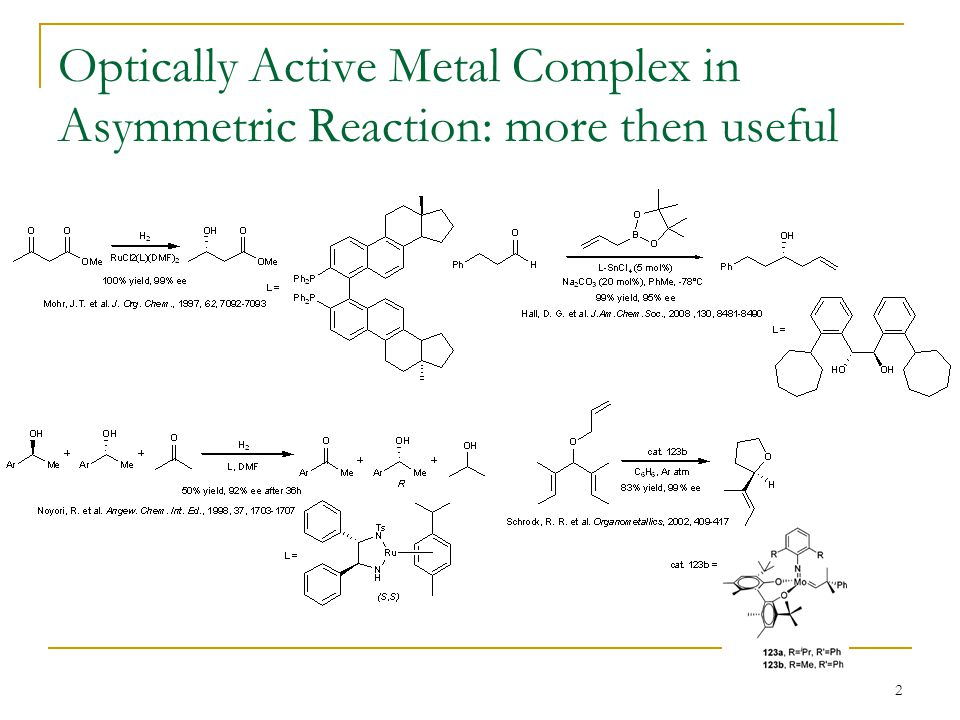 Optically Active Metal Complex in Asymmetric Reaction: more then useful