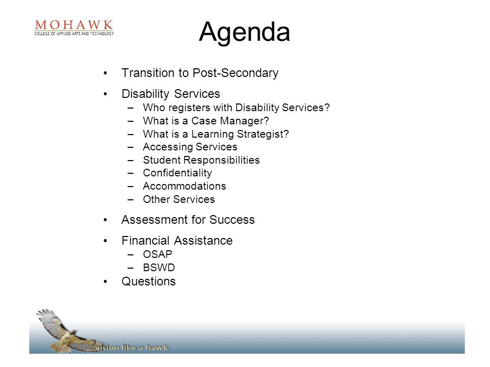 Agenda Transition to Post-Secondary Disability Services