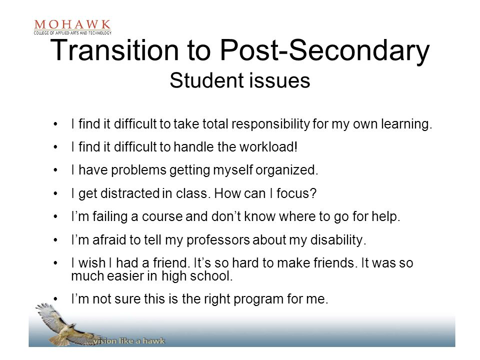 Transition to Post-Secondary Student issues