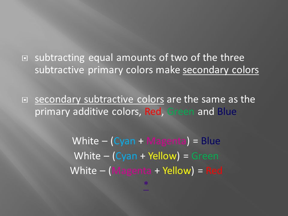 White – (Cyan + Magenta) = Blue White – (Cyan + Yellow) = Green