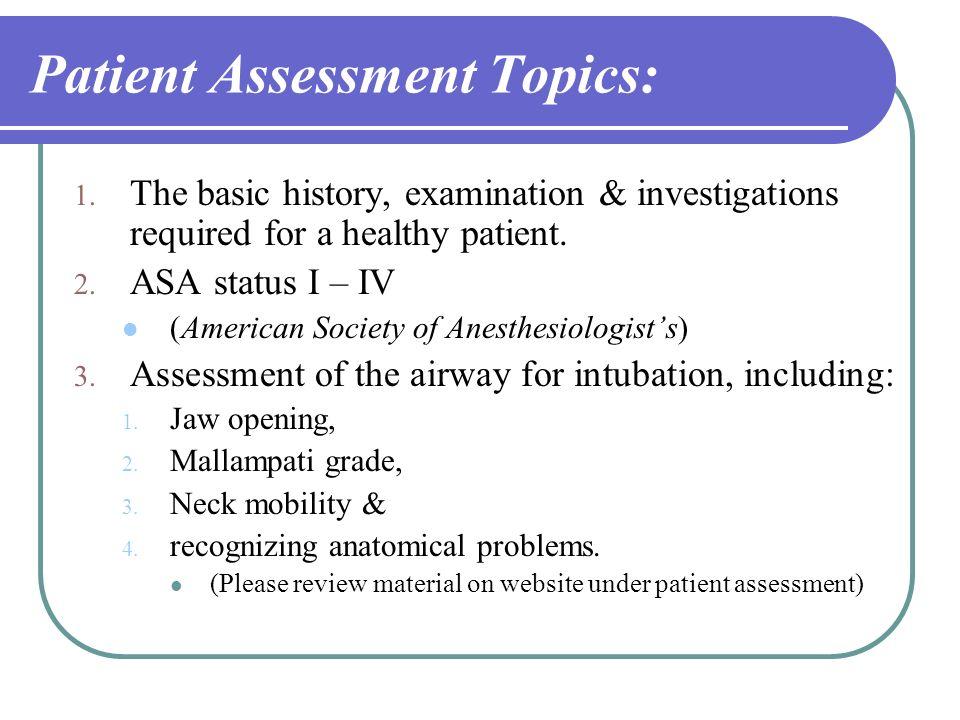 Patient Assessment Topics: