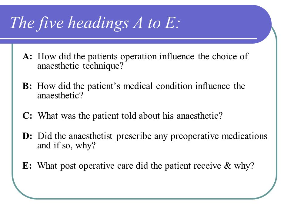 The five headings A to E: