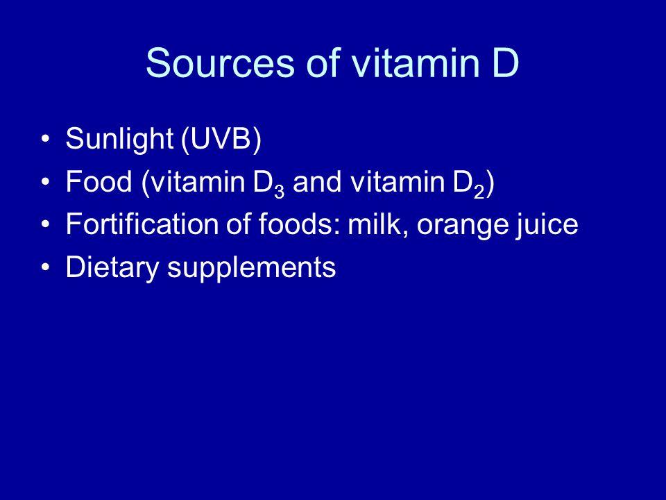 Sources of vitamin D Sunlight (UVB) Food (vitamin D3 and vitamin D2)