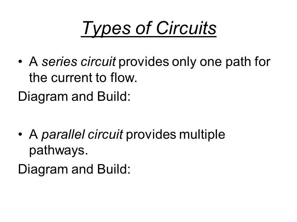 Types of Circuits A series circuit provides only one path for the current to flow. Diagram and Build: