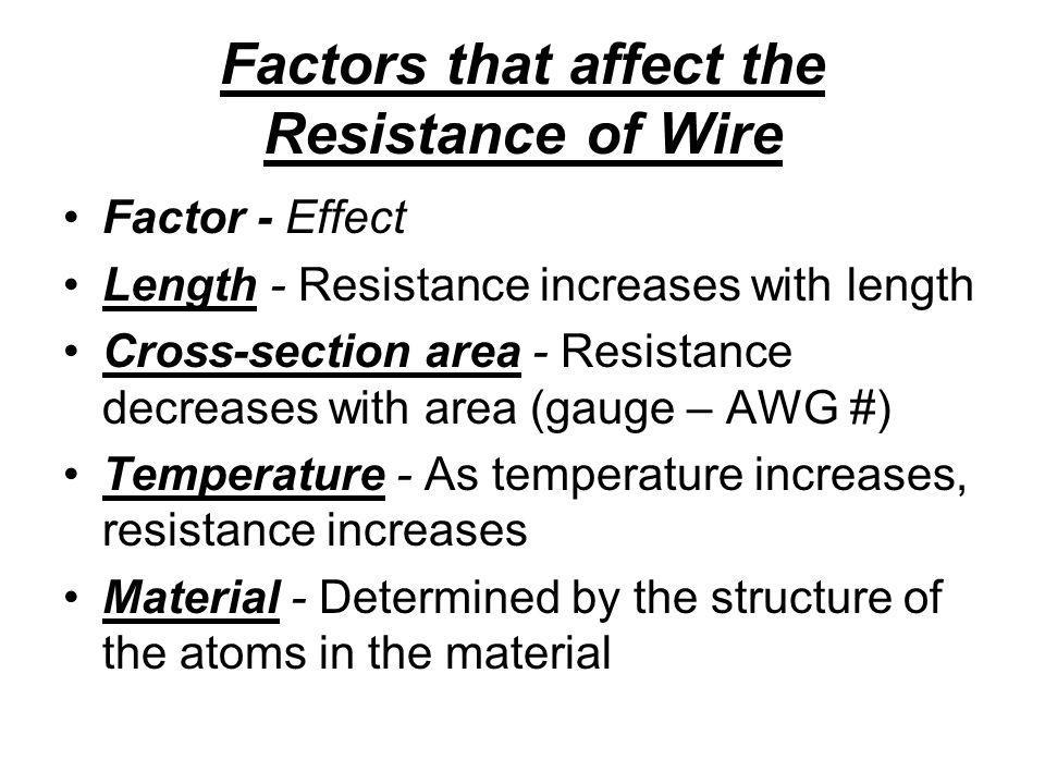 Factors that affect the Resistance of Wire