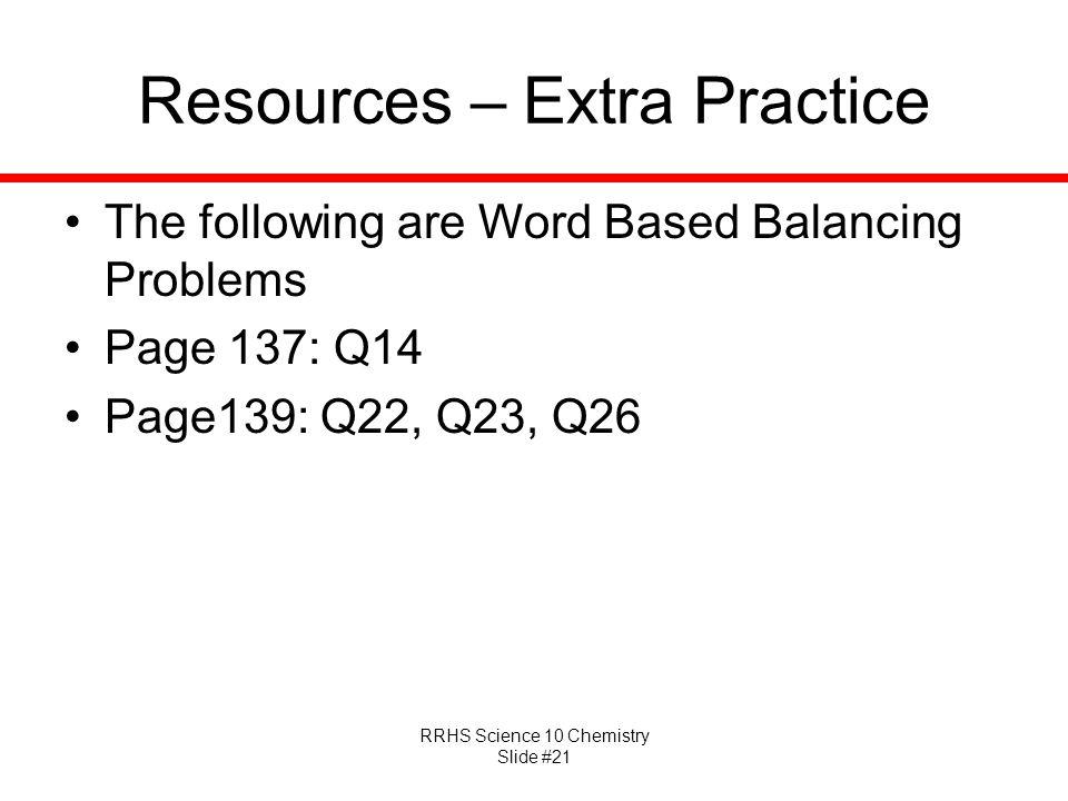 Resources – Extra Practice