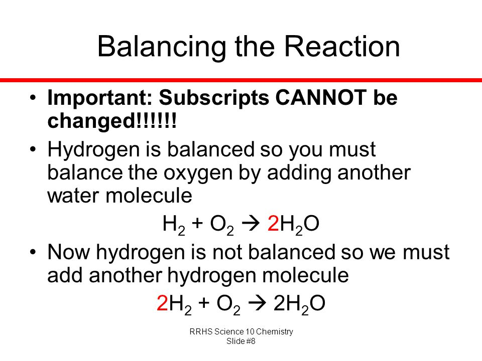 Balancing the Reaction