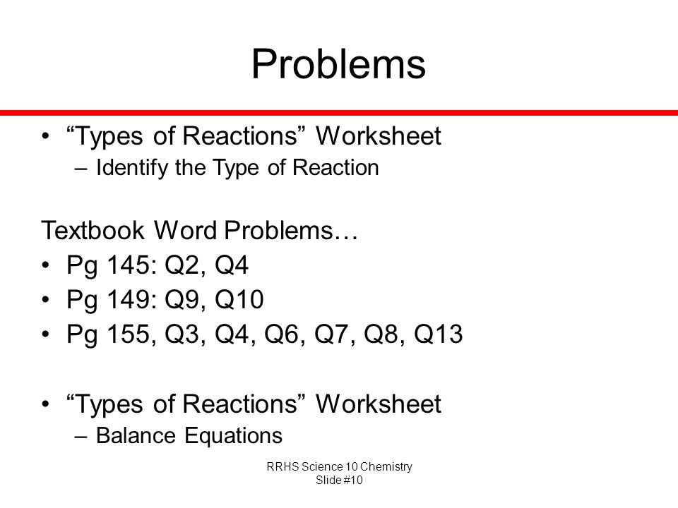 Problems Types of Reactions Worksheet Textbook Word Problems…