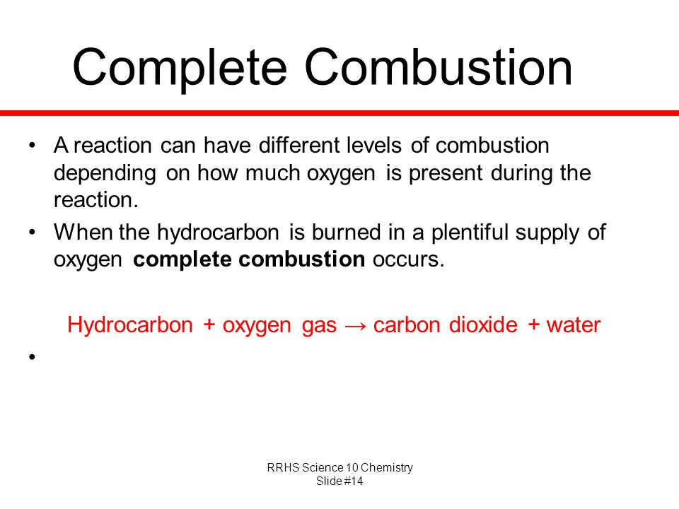 Hydrocarbon + oxygen gas → carbon dioxide + water