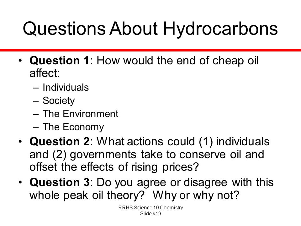 Questions About Hydrocarbons