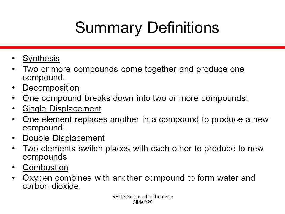 Summary Definitions Synthesis