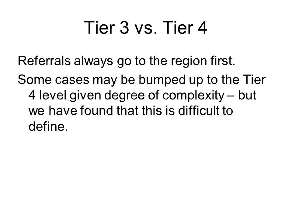 Tier 3 vs. Tier 4 Referrals always go to the region first.