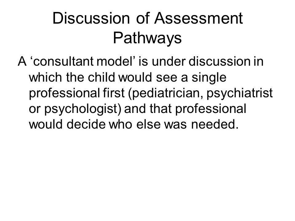 Discussion of Assessment Pathways